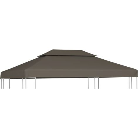 2-Tier Gazebo Top Cover 310 g/m² 4x3 m Taupe