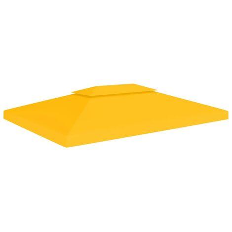 2-Tier Gazebo Top Cover 310 g/m² 4x3 m Yellow