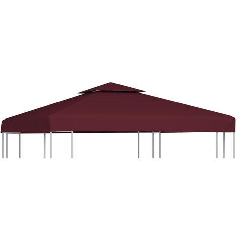 2-Tier Gazebo Top Cover 310 g/m2 3x3 m Bordeaux