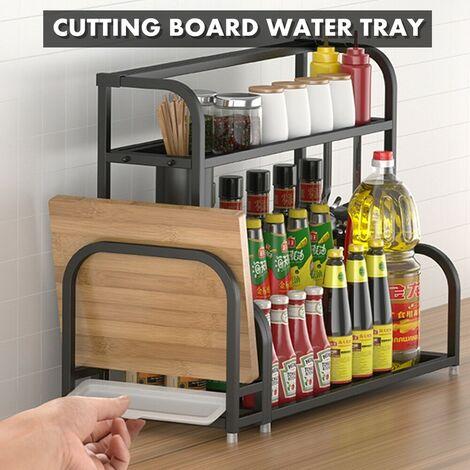 2 Tier Kitchen Countertop Cabinet Shelf Bracket for Heavy Duty 304 Stainless Steel 3 Tier Wall Rack Wall Mount Bracket with Chopping Board Holder + Chopsticks (30/40/50cm) (30cm)