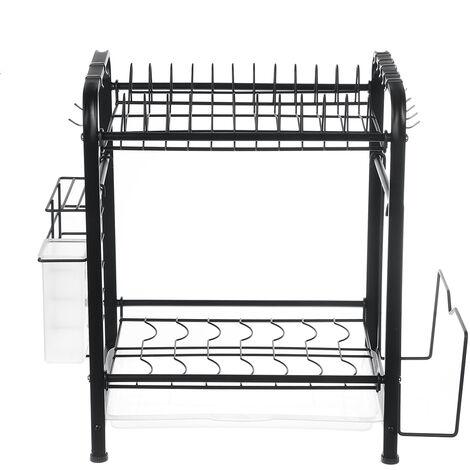 2 Tier Kitchen Drying Dish Rack Over Sink Drainer Shelf 43*25*40cm BLACK