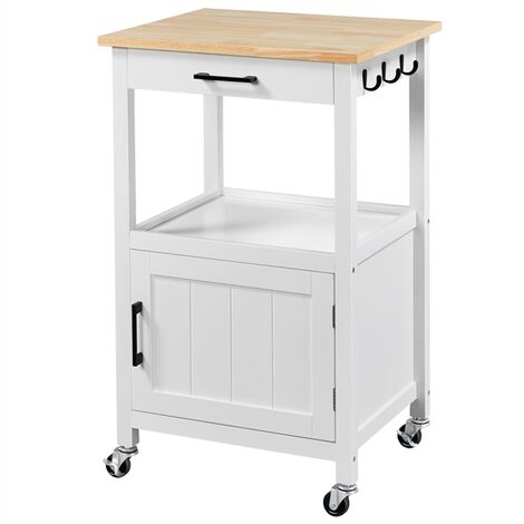 2 Tier Kitchen Island Storage Trolley Storage Shelves Rack Storage Cart Rolling Utility Cart with 3 Hooks and 2 Drawers for Kitchen, Home Office, Dining Room