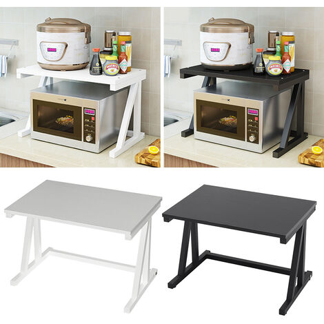 2 Tier Kitchen Microwave Oven Rack Pot Spice Shelf Organizer Storage Table Stand