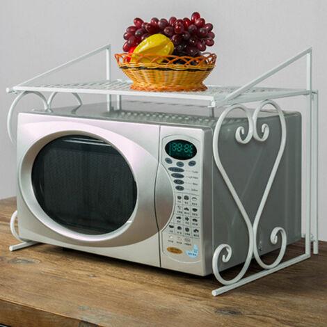 2 Tier Kitchen Microwave Oven Rack Storage Shelf Corner Organizer Iron Display White