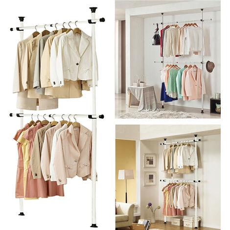 2-Tier Metal Adjustable Clothes Hanging Rack Movable Garment Rail