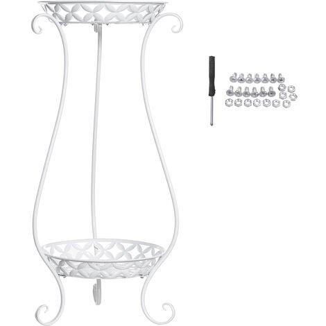 2 Tier Metal Plant Stand Flower Pot Holder Self Rack 37x31x70cm white