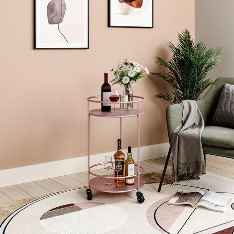 2 Tier Metal Rolling Trolley Cart Drinks Food Wine Tea Serving Tray Display Rack Rose Gold