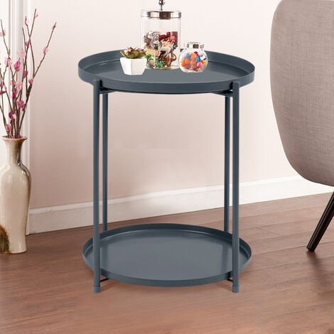 2 Tier Metal Tray Coffee Table Bedside Table