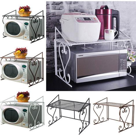 2 Tier Microwave Oven Rack Holder Kitchen Tools Storage Stand Shelf Organiser