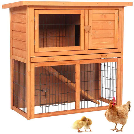 """main image of """"2 Tier Pet Hutch House Shelter, 36"""" Waterproof Wooden Rabbit Guinea Pig Chicken Cage House"""""""