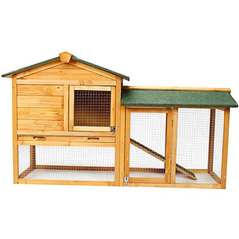2-Tier Rabbit Hutch Chicken Coop Pet Cage Animal House 147*53*85cm