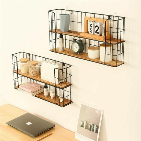 2-Tier Rectangular Floating Shelves Wall Shelf Kitchen Spice Rack Hanging Decor,40x12x30cm