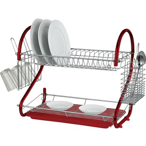 2 TIER RED CHROME PLATE DISH CUTLERY CUP DRAINER RACK DRIP TRAY PLATES HOLDER