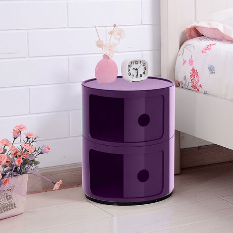 2 Tier Round Storage Unit Side Corner Cabinet Bedside Table Chest Drawers Purple