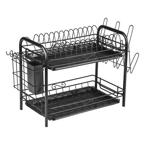"""main image of """"2-Tier Rustproof Dish Drying Rack Carbon Steel Dish Rack Multifunctional Organizer Dish Drainer with Drainboard Hooks Utensil Holder,model:Black with Cup Rack"""""""