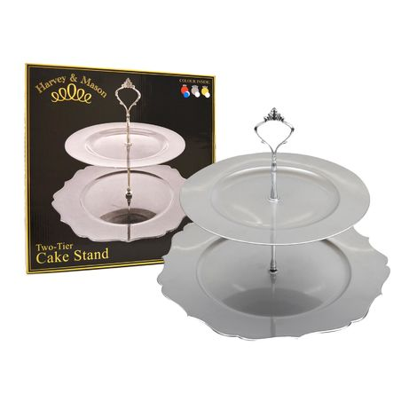 2 TIER SHAPED CAKE STAND SILVER