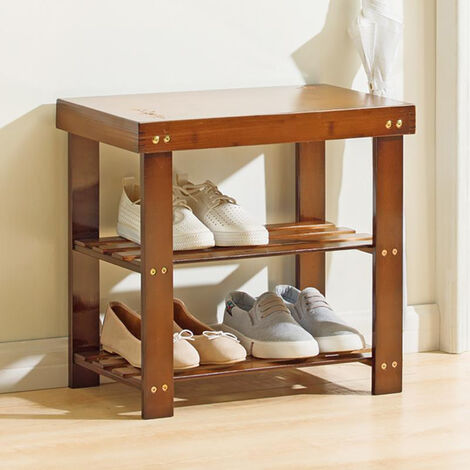 2 Tier Shoe Rack Storage Organiser Shelf Bench Chair