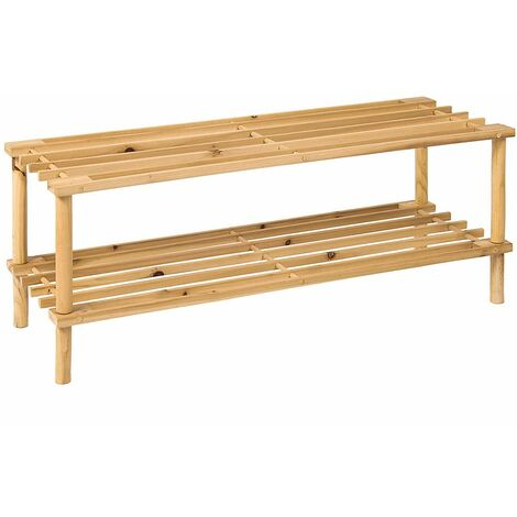 2 Tier Slated Shoe Rack, Natural
