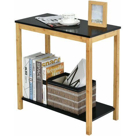 """main image of """"2-Tier Sofa End Table Bamboo Nightstand Storage Shelf Long Side Table Home"""""""