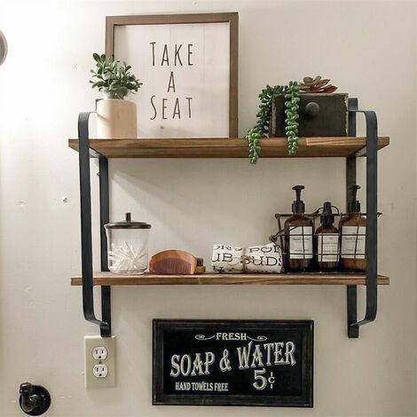 2 Tier Vintage Wall Unit Floating Hanging Shelf for Kitchen Bedroom