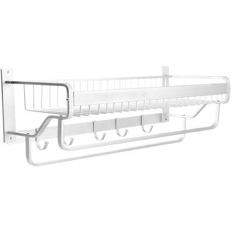 2-Tier Wall Mounted Towel holder Shelf Rack 14.5*53*18.5cm Matte Hanging Hook Hanger Basket Kitchen Bathroom Shower
