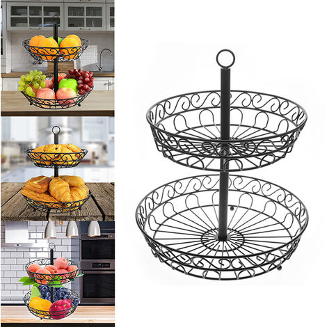 2-Tier Wire Fruit Basket Standing Holder Deck Bowl Standing