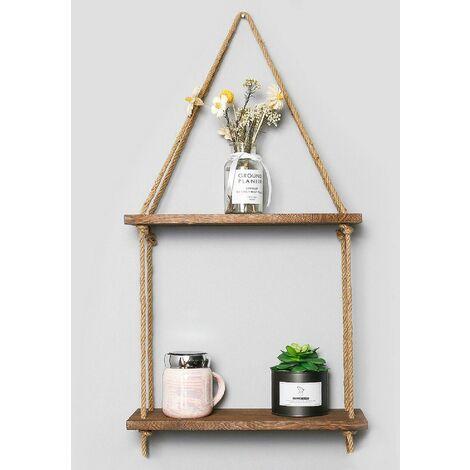 2 tier wooden hanging shelf