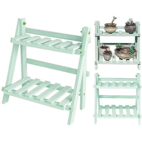 2 Tier Wooden Ladder Plants Display Rack Shelves