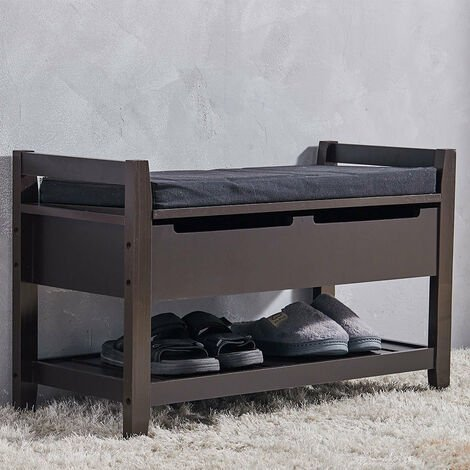 2 Tier Wooden Shoe Rack Bench Organiser Stand With Upholstered Seat