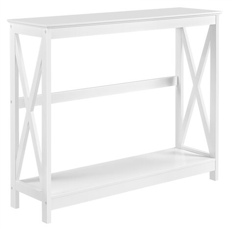2-Tier X-Shaped Console Sofa Side Table Contemporary Entryway Table with Open Storage Shelf Hallway Storage Shelf for Living Room, White