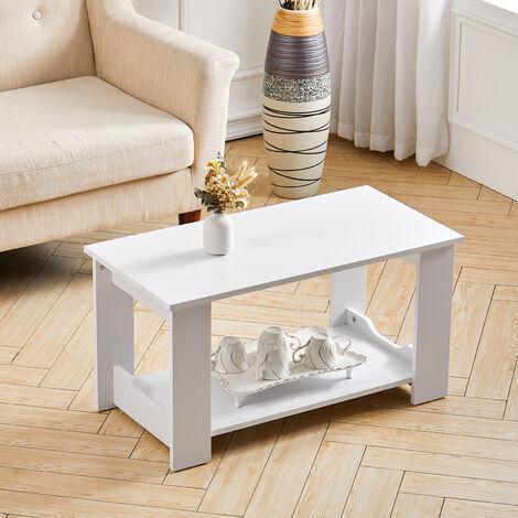 2-Tiers 80CM Wooden Coffee Table Modern Side End Desk Living Room Storage Shelf, Natural