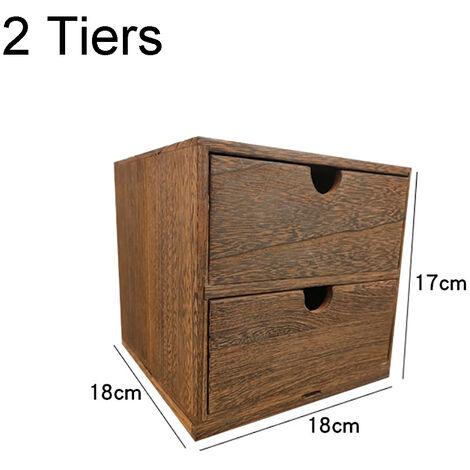 2 Tiers Drawer Wooden Storage Organizer Desktop Decorative Cabinet Boxes 18x18x17CM