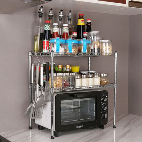 2 Tiers Freestanding Microwave Oven Stand Rack Kitchen Holder Shelf Organizer