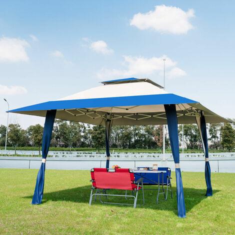 2-tiers Garden Gazebo Marquee Canopy Sun Shelter Wedding Party Tent Blue