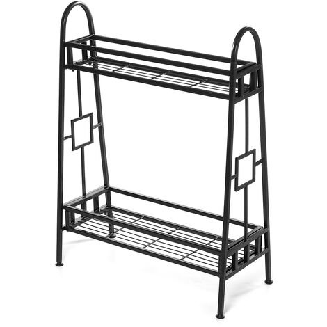2 Tiers Metal Plant Stand Display Shelf 60x27.9cmx82cm Black