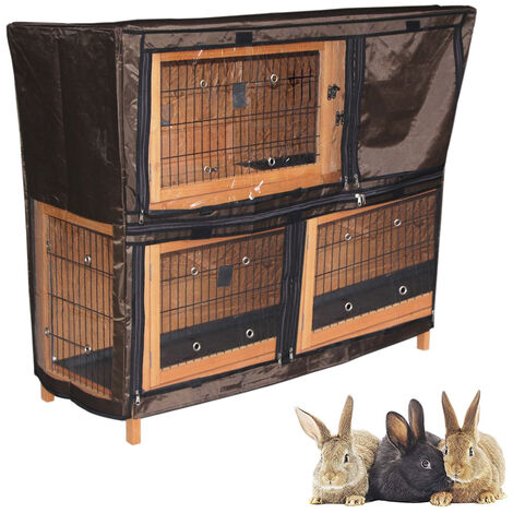 2 Tiers Rabbit Hutch Rain Cover Weather Waterproof Guinea Pig House Protection