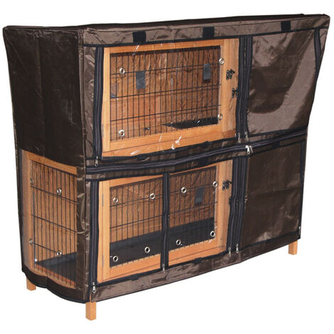 2 Tiers Rabbit Hutch Rain Cover Weather Waterproof Guinea Pig House Protection,120Lx52Dx102H(cm)