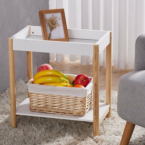2 Tiers Sofa Side Bedside Table Shelf Tray Top Stand White Wood Shelf Rack
