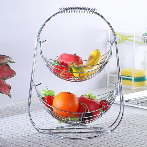 2 Tiers Swinging Fruit Vegetable Bowl Basket Hanger Stand Storage Holder