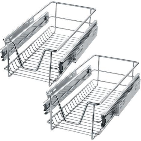 """main image of """"2 tiroirs de rangement téléscopiques - lot de 2 tiroirs, tiroirs coulissants cuisine, paniers coulissants cuisine"""""""