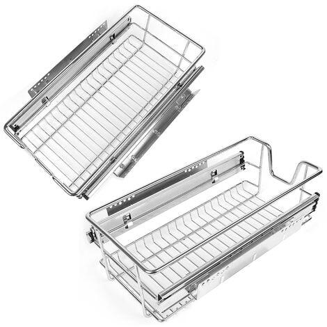 """main image of """"2 tiroirs de rangement téléscopiques - lot de 2 tiroirs, tiroirs coulissants cuisine, paniers coulissants cuisine - 60 cm"""""""