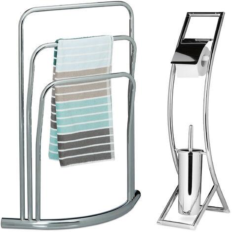 2 tlg. Bad Set CURVY, Handtuchhalter freistehend, WC Garnitur ohne Bohren, Toilettenpapierhalter silber, Toilettenbürste
