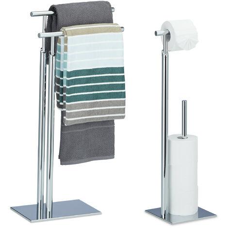 2 tlg Bad Set PAGNONI, WC Garnitur, Handtuchhalter, Toilettenpapierhalter, Handtuchständer, Klopapierhalter, freistehend