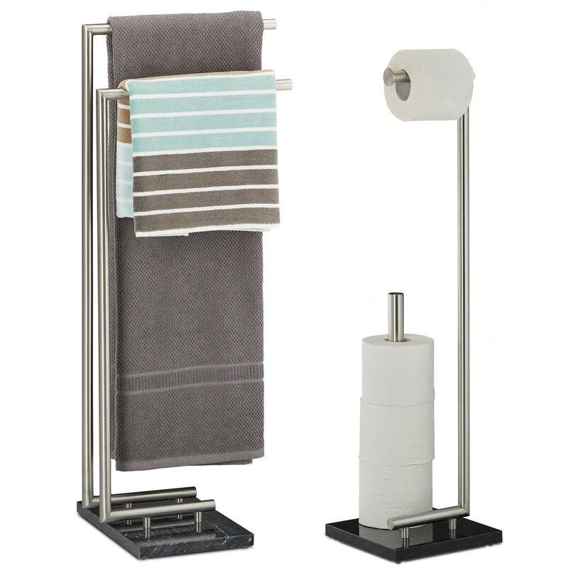 2 tlg Badezimmer Set PIERRE Handtuchhalter ohne Bohren