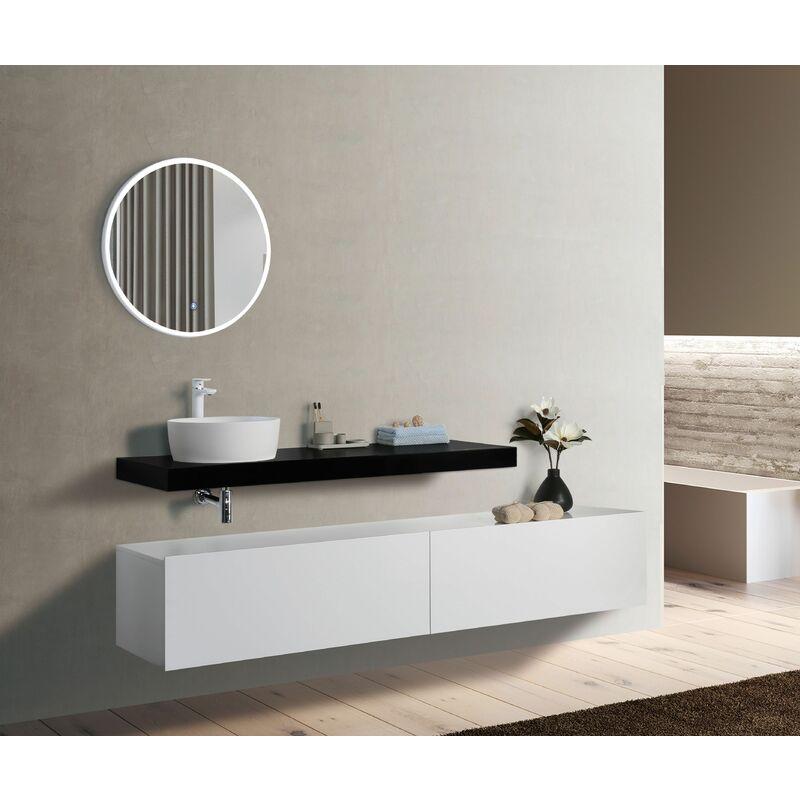 2-tlg. Badmöbel Unterschrank TOTALO 220 ohne Waschtisch - Weiß/schwarz - GLASDEALS