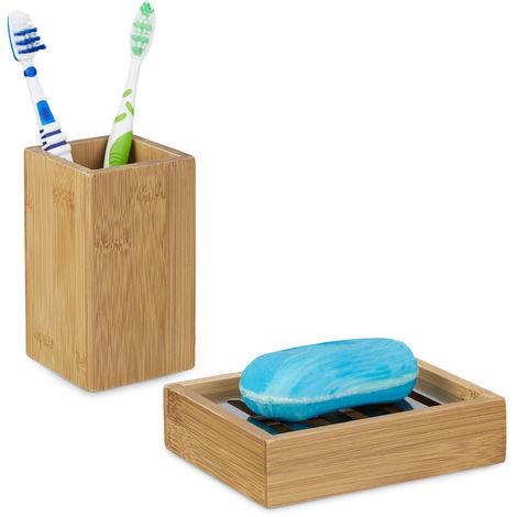 2 tlg. Badutensilien-Set aus Bambus, Zahnputzbecher, Seifenablage mit Abtropfgitter, natürliches Design, natur