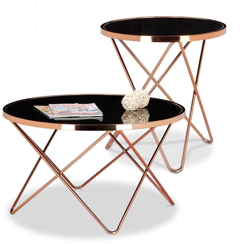 2 tlg. Beistelltisch Set COPPER, Couchtisch Schwarzglas, Glastisch Kupfer, Sofatisch rund, Wohnzimmertisch Glasplatte - RELAXDAYS