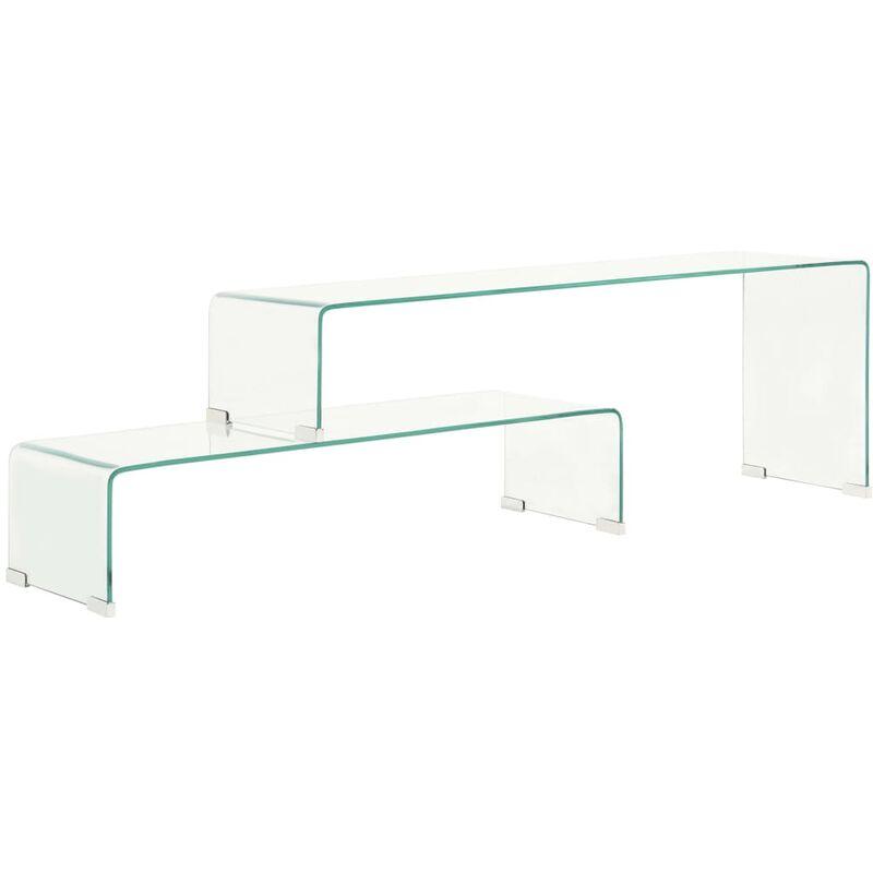 2-tlg. Couchtisch-Set 90x30x20/110x30x40 cm Hartglas