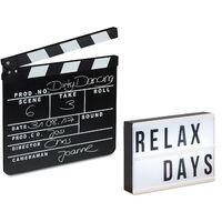 Light Box LED Fl/üstert/üte Regieklappe Film-Set relaxdays 3 TLG Megafon 10 Watt Filmklappe Holz Leuchttafel mit 85 Zeichen