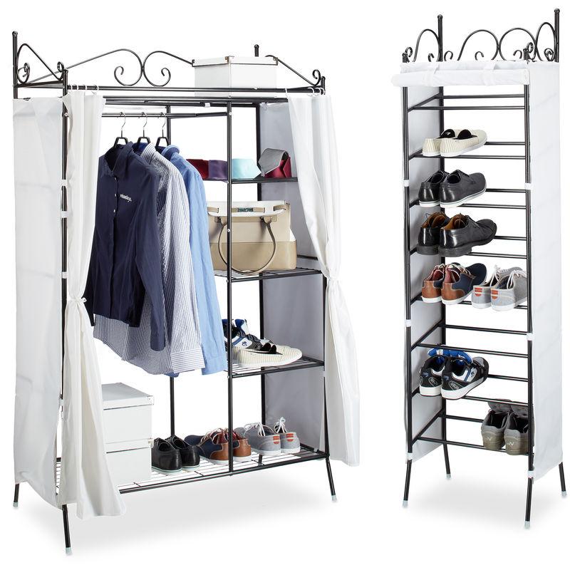 Relaxdays - 2 tlg. Garderoben Set COUNTRY, Kleiderschrank mit Stoffvorhang, Schuhregal, Stoffschrank, Schuhschrank, schwarz-weiß